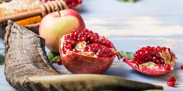 Rosh hashanah  (Hashana) - jewish New Year holiday concept. Traditional symbols: Honey jar and fresh apples with pomegranate and shofar - horn on a blue background. Copy space for text. View from above