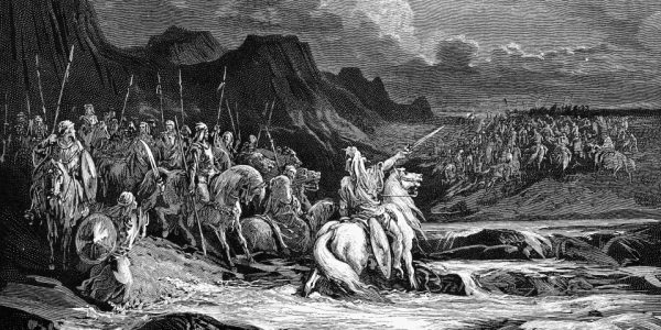JUDAS MACCABEUS.  Judas Maccabeus pursuing Timotheus (I Maccabees 5:42). Wood engraving after Gustave Doré.